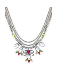Jessica Simpson - Metallic Silvertone Clear and Yellow Crystal Stone Frontal Necklace - Lyst