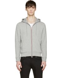 Moncler - Gray Grey Striped Logo Classic Hoodie for Men - Lyst