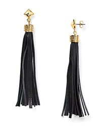 BaubleBar | Black Leather Tassel Drop Earrings | Lyst