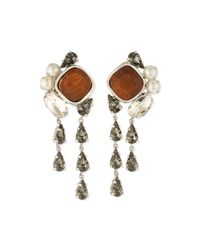 Lela Rose | Metallic Cluster Crystal Clip-on Earrings | Lyst