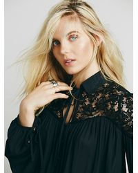 Free People - Black Womens Collared Lace Inset Top - Lyst