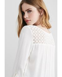 Forever 21 | Natural Crochet Gauze Top | Lyst