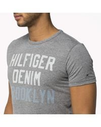 Tommy Hilfiger | Gray Cotton Blend Crew Neck T-shirt for Men | Lyst