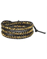 Aeravida - Multicolor Gold Muse Crystal Tribal Wrap Leather Bracelet - Lyst