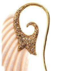 Noor Fares - Metallic Diamond, Mammoth Ivory & Gold Wing Earrings - Lyst