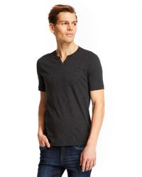 Kenneth Cole - Gray Speckled Henley T-Shirt for Men - Lyst