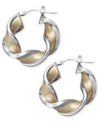 Macy's - Metallic 14k Gold And White Gold Earrings, Medium Twisted Hoop Earrings - Lyst