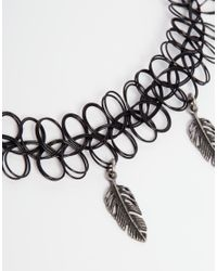ASOS | Black Leaves Tattoo Choker Necklace | Lyst
