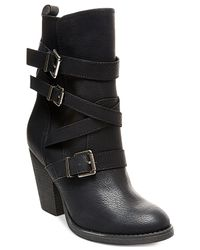 Madden Girl - Black Kloo Buckle Booties - Lyst