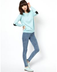 ASOS - Blue Jumper with Star Elbow Patches - Lyst