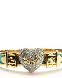 Juicy Couture | Blue Pave Heart Buckle Leather Bangle | Lyst