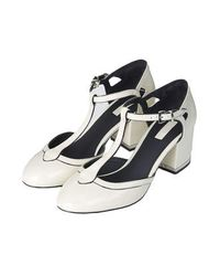 TOPSHOP - White Joyful Glitter T-Bar Heels - Lyst