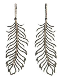Rosa De La Cruz | Metallic Diamond Feather Earrings | Lyst