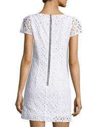 MILLY - White Chloe Eyelet Short-sleeve Dress - Lyst
