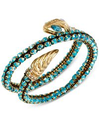 Betsey Johnson | Blue Gold-tone Snake Faceted Bead Coil Bracelet | Lyst