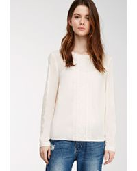 Forever 21 | Natural Contemporary Embroidered Mesh-paneled Blouse | Lyst