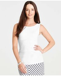 Ann Taylor - White Petite Ripple Ruched Shell - Lyst