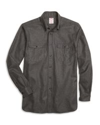 Brooks Brothers | Gray Milano Fit Saxxon Wool Sport Shirt for Men | Lyst