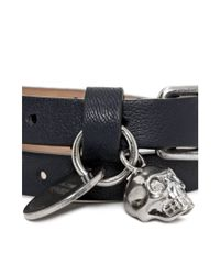 Alexander McQueen - Blue Leather Double Wrap Skull Bracelet - Lyst