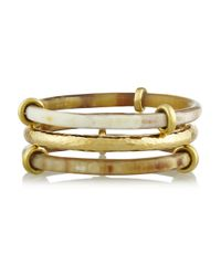 Ashley Pittman | Metallic Karibu Set Of Three Horn and Goldtone Bangles | Lyst