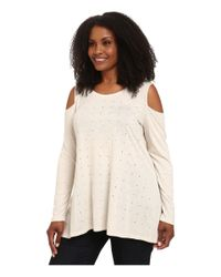 DKNY | Natural Plus Size Cold Shoulder Studded Top | Lyst