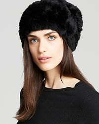 Surell - Black Rabbit Fur Knit Slouchy Hat - Lyst