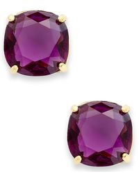 kate spade new york - Pink 12K Gold-Plated Amethyst Resin Square Stud Earrings - Lyst