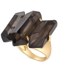 T Tahari | Metallic Gold-Tone Smoky Jet Stone Ring | Lyst