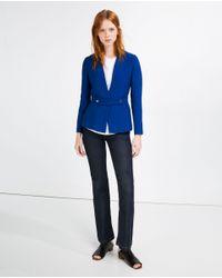 Zara | Blue Fabric Waist Blazer | Lyst