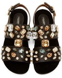 Dolce & Gabbana   Multicolor Embellished Satin Sandals   Lyst