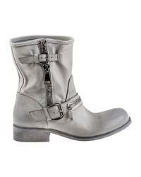 275 Central - 1887 Biker Boot Distressed White Leather - Lyst