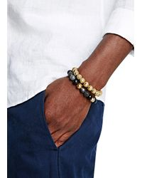 Nialaya - Metallic Beaded 18kt Gold-plated Bracelet for Men - Lyst
