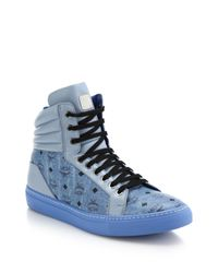 MCM - Blue Logo-print Leather High-top Sneakers for Men - Lyst