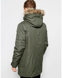 Jack & Jones - Green Parka With Faux Fur Hood for Men - Lyst