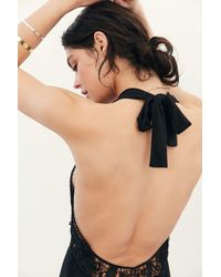 Out From Under | Black Crochet Open-back Romper | Lyst