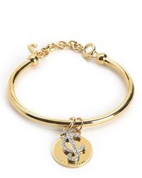 Juicy Couture | Metallic Pave Jc And Disc Bangle | Lyst