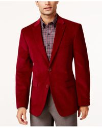 Tommy Hilfiger | Red Solid Trim-fit Corduroy Sport Coat With Elbow Patches for Men | Lyst