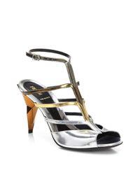 Fendi - Metallic Irida Diamond Sandals - Lyst