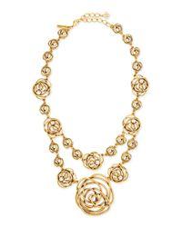Oscar de la Renta - Metallic Rose-motif Wire Necklace - Lyst