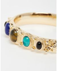 ASOS | Metallic 70's Stone Open Cuff Bracelet | Lyst