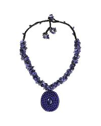 Aeravida - Blue Purple Round Amethyst Mosaic Pendant Cluster Necklace - Lyst