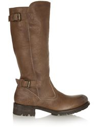 NDC | Brown Courchevel Shearling-lined Textured-leather Boots | Lyst