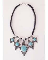 Missguided - Metallic Semi Precious Triangle Statement Necklace Silver - Lyst