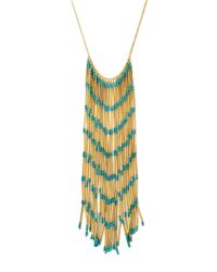 BCBGMAXAZRIA - Green Boho Fringe Necklace - Lyst