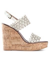 Tory Burch - White Perforated-Leather Wedge Sandals - Lyst