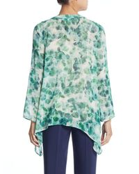 Chaus New York - Multicolor Printed Pintuck-pleated Chiffon Blouse - Lyst