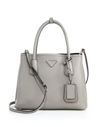 Prada | Gray Daino Small Double Bag | Lyst