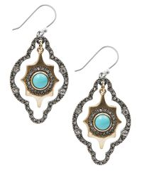 Lucky Brand | Green Silver-Tone Reconstituted Turquoise Diamond-Shape Drop Earrings | Lyst