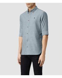 AllSaints - Blue Hermosa Half Sleeved Shirt for Men - Lyst