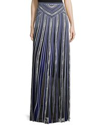 Roberto Cavalli - Blue Long Metallic Striped Skirt - Lyst